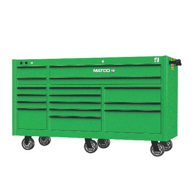 "4S TRIPLE BAY 25"" TOOLBOX SCREAMIN' GREEN™ WITH BLACK TRIM 