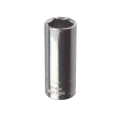 "1/4"" DRIVE SILVER EAGLE 14MM METRIC 6 POINT DEEP CHROME SOCKET 