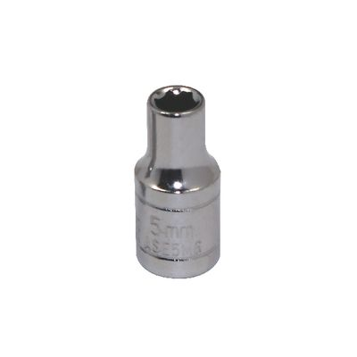 "1/4"" DRIVE SILVER EAGLE 5MM METRIC 6 POINT CHROME SOCKET 