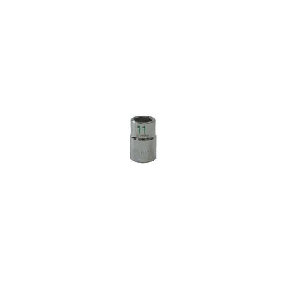 "3/8"" DRIVE 11MM METRIC 6 POINT CHROME SOCKET - GREEN 