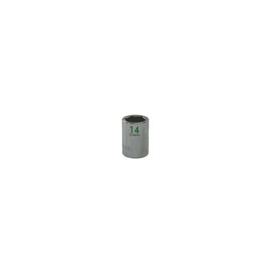 "3/8"" DRIVE 14MM METRIC 6 POINT CHROME SOCKET - GREEN 