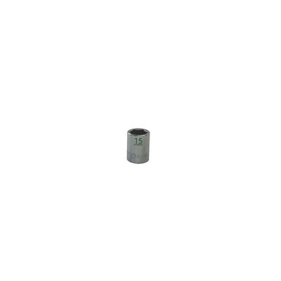 "3/8"" DRIVE 15MM METRIC 6 POINT CHROME SOCKET - GREEN 
