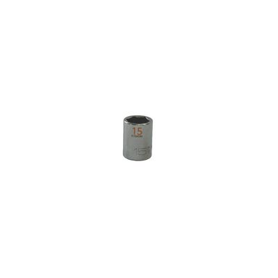 "3/8"" DRIVE 15MM METRIC 6 POINT CHROME SOCKET - ORANGE 