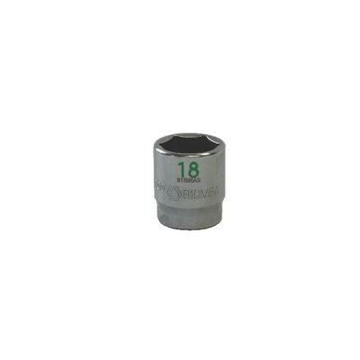 "3/8"" DRIVE 18MM METRIC 6 POINT CHROME SOCKET - GREEN 