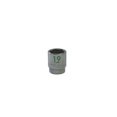 "3/8"" DRIVE 19MM METRIC 6 POINT CHROME SOCKET - GREEN 
