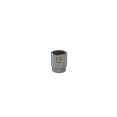 "3/8"" DRIVE 19MM METRIC 6 POINT CHROME SOCKET - ORANGE 