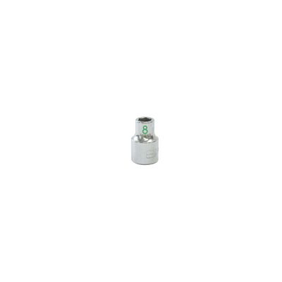 "3/8"" DRIVE 8MM METRIC 6 POINT CHROME SOCKET - GREEN 