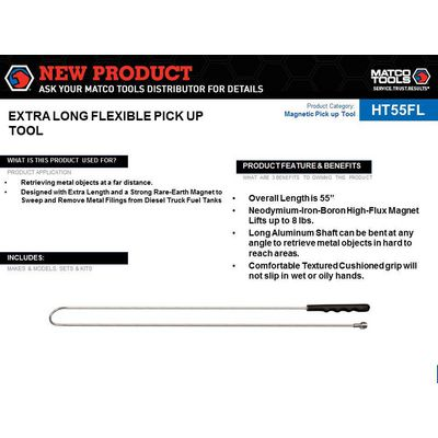 "EXTRA LONG 55"" FLEXIBLE MAGNETIC PICK UP TOOL 