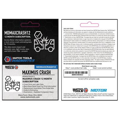 MAXIMUS CRASH 12 MONTH SUBSCRIPTION | Matco Tools