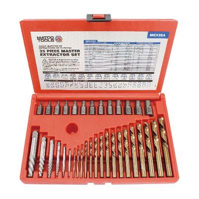 35 Piece Master Screw Extractor Set With Cobalt Bits