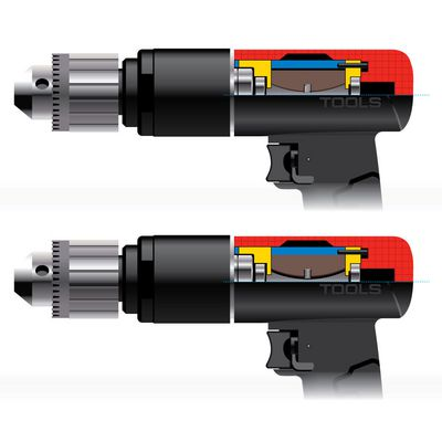 "3/8"" DRIVE REVERSIBLE KEYLESS COMPOSITE AIR DRILL 