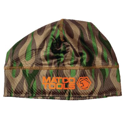 BLUETOOTH SKULL CAP - BROWN WITH TAN AND GREEN FLAMES | Matco Tools