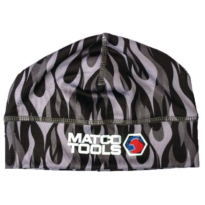 BLUETOOTH SKULL CAP - GRAY WITH BLACK WITH FLAMES | Matco Tools