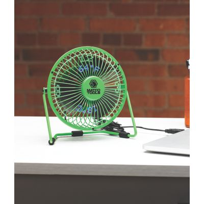 DESKTOP USB TEMP & CLOCK FAN- GREEN | Matco Tools