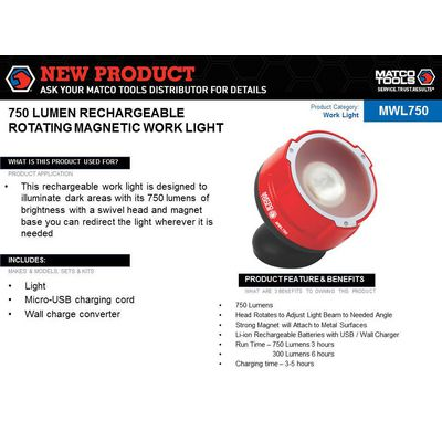 RECHARGEABLE ROTATING MAGNETIC WORK LIGHT | Matco Tools