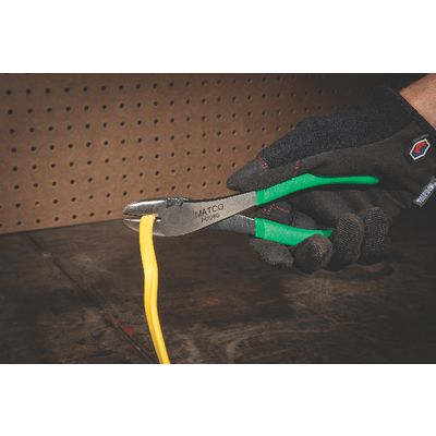 "8"" CURVED DIAGONAL CUTTING PLIERS - GREEN 