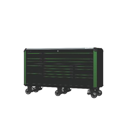 "REVEL TRIPLE BAY 28"" TOOLBOX OUTLAW BLACK WITH GREEN TRIM 