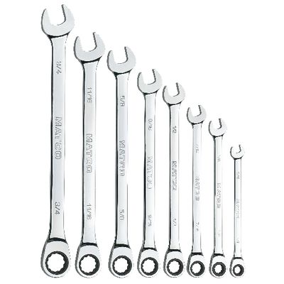 8 PIECE 72 TOOTH EXTRA LONG SAE COMBINATION RATCHETING WRENCH SET | Matco Tools