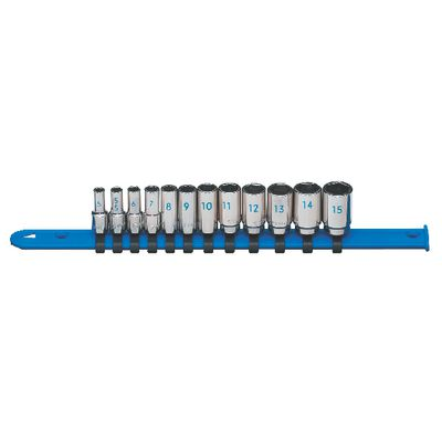"1/4"" DRIVE 12 PIECE METRIC 6 POINT MID-LENGTH CHROME SOCKET SET 