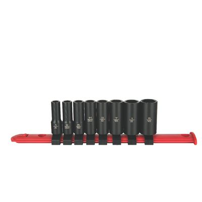 "1/4"" DRIVE ADV 8 PIECE SAE 6 POINT MID-LENGTH IMPACT SOCKET SET 