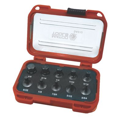 "10 PIECE 1/4"" DRIVE STUBBY SAE HEX SET 