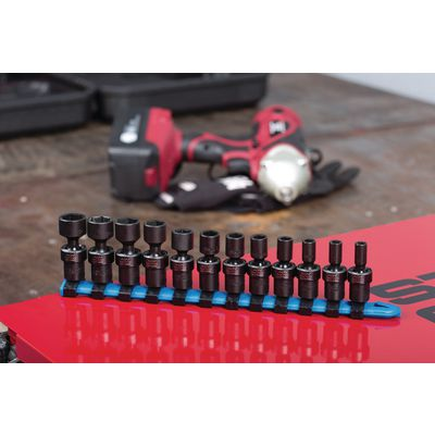 "1/4"" DRIVE 12 PIECE METRIC 6 POINT UNIVERSAL ADV IMPACT SOCKET SET 