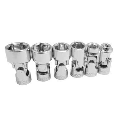 "1/4"" DRIVE 6 PIECE SAE 6 POINT STUBBY CHROME UNIVERSAL JOINT SET 