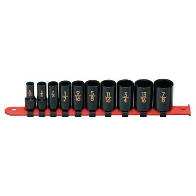 "3/8"" DRIVE 10 PIECE SAE 6 POINT MID-LENGTH IMPACT SOCKET SET 