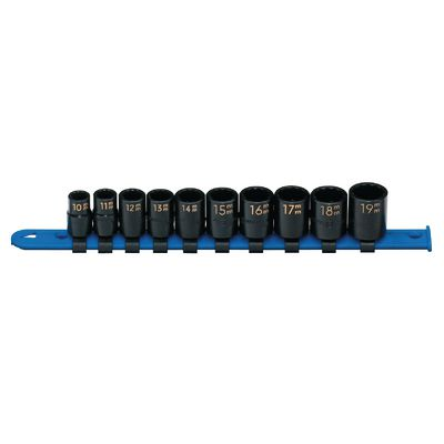 "3/8"" DRIVE 10 PIECE METRIC 12 POINT IMPACT SOCKET SET 
