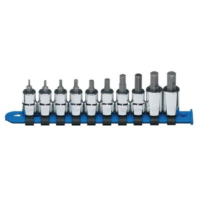 "3/8"" DRIVE 10 PIECE METRIC HEX BIT SOCKET DRIVER SET 