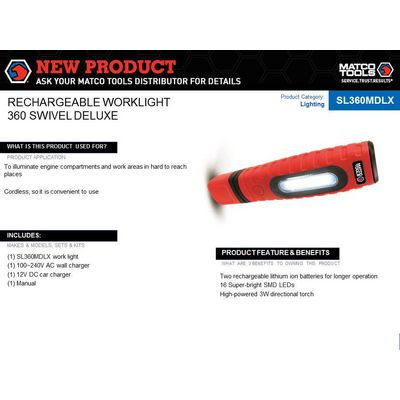360° DELUXE MAGNETIC CORDLESS RECHARGEABLE WORK LIGHT AND TORCH  | Matco Tools