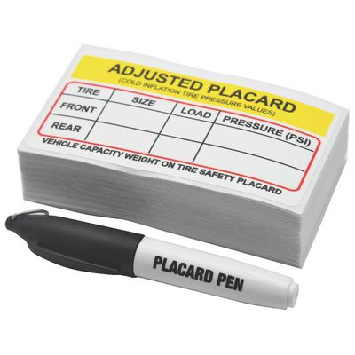 100 COUNT TIRE PRESSURE PLACARD STICKERS WITH PEN | Matco Tools